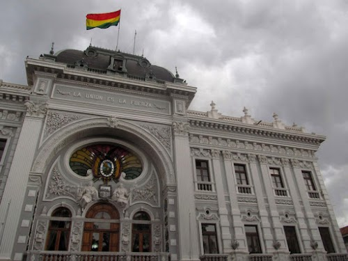 "Government Palace, Sucre. ""Bolivia's motto on the front, ""Unity is Strength:"""