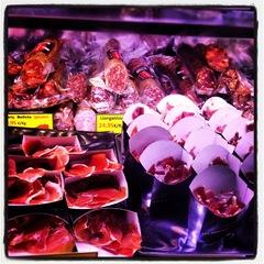 Sliced ham at La Boqueria