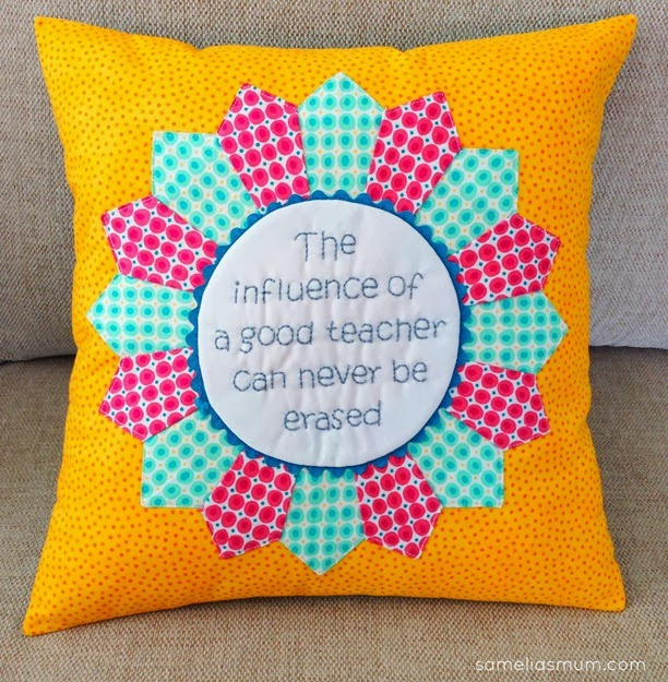 Stitched Dresden Pillow Teacher Gift