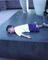 Eidan plays dead on the Awakening statue at Villanova