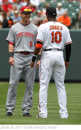 'Cincinnati Reds center fielder Drew Stubbs (6) and Baltimore Orioles center fielder Adam Jones (10)' photo (c) 2011, Keith Allison - license: http://creativecommons.org/licenses/by-sa/2.0/