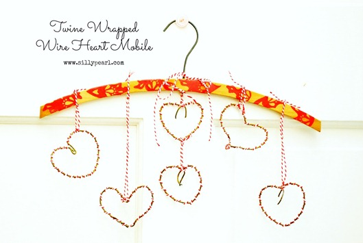 Vintage-Inspired Bakers Twine Wrapped Wire Heart Mobile - The Silly Pearl