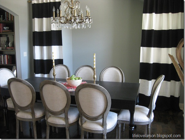Curtains Ideas black and white striped curtains horizontal : Life Love Larson: DIY: No-Sew Black & White Striped Curtains