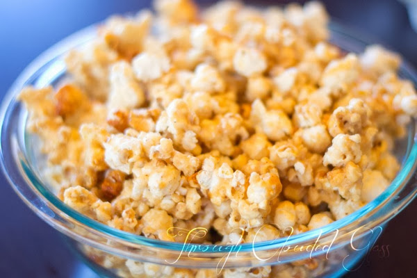 White Chocolate Caramel Popcorn Recipe | Through Clouded Glass