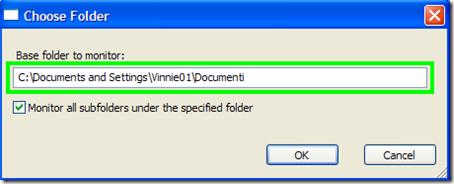 FolderChangesView indicare cartella da controllare
