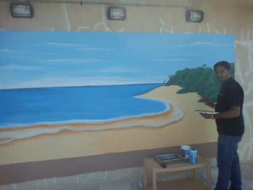 Kids school room beach theme painting colaba for Beach mural painting