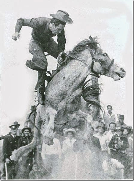 Alan Wood on the great bucking mare, Curio.