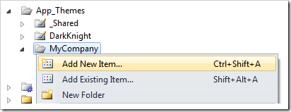 Add New Item to MyCompany folder of the project.