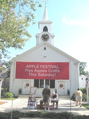 Cape Cod Columbus weekend 2012..apple festival church apple sign