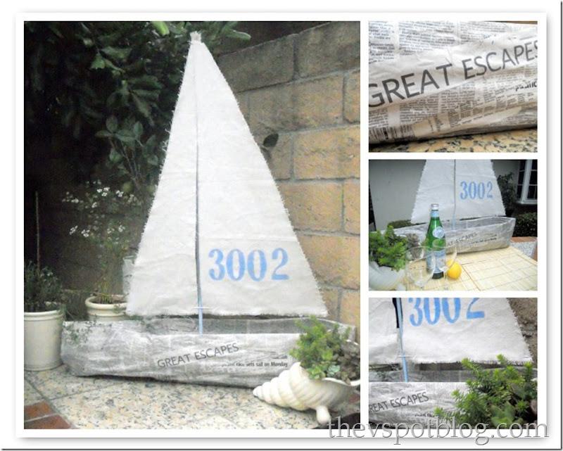 boat mosaic, newspaper, sail boat, paper mache