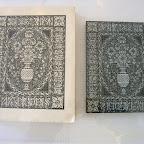 Magnifique gravure en bois debout de Louis Jou et son tirage: couverture des essais de Montaigne.