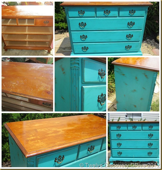 Teal Dresser collage