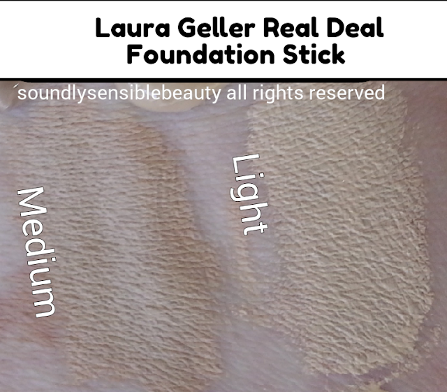 Laura Geller Real Deal Foundation Stick, Ultimate Coverage SPF 15; Review & Swatches of Shades