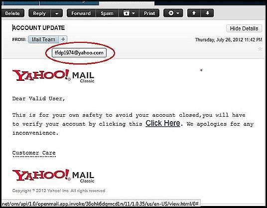 screen shot of hacked yahoo add