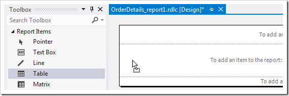 Dropping Table item onto the report template.