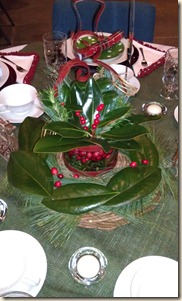 Magnolia leaf centerpiece 12-15-11