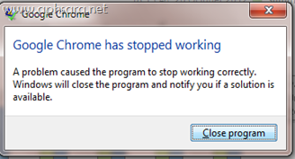 แก้ปัญหา Google chrome has stop working