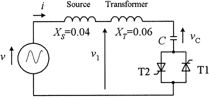 Switching a discharge capacitor; circuit diagram