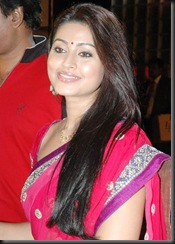 Sneha in rose saree