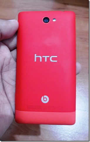 HTC 8S on hand - Back View