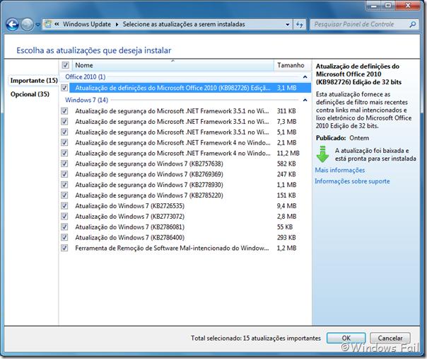 Windows Update - Atualizações do dia 08/01/2011