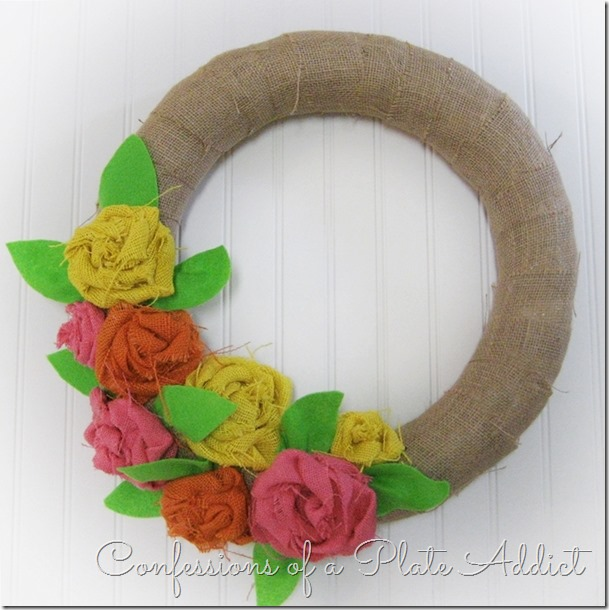 CONFESSIONS OF A PLATE ADDICT No-Sew Burlap Rose Wreath tutorial2