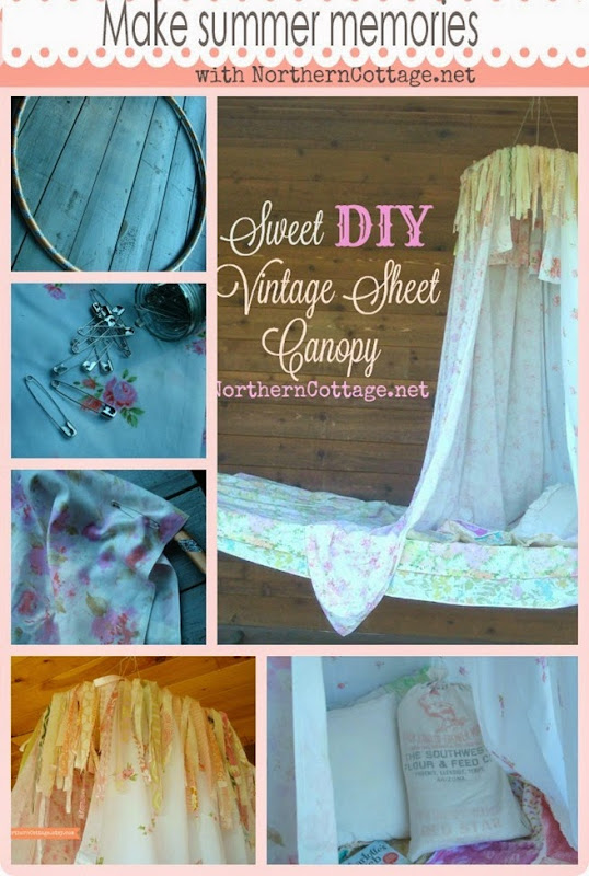 Make Summer Memories DIY Vintage Sheet Canopy {NorthernCottage}