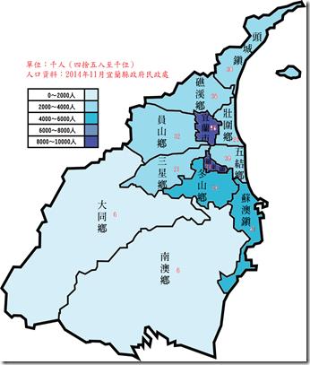 宜蘭縣人口數2014上色鄉鎮市區字