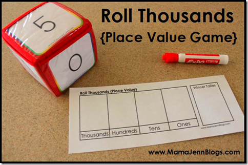 Printable Place Value Games {Roll Hundreds & Roll Thousands}
