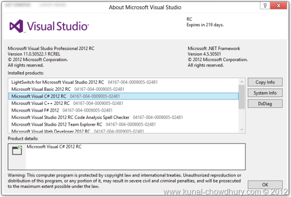 Visual Studio 2012 RC - Version 11.0.50522.1 RCREL