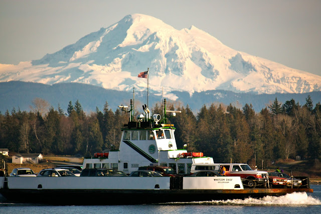 September/October 2011 3rd Place  /Lummi Island Ferry in front of Mt. Baker  /Credit: Alan Clark