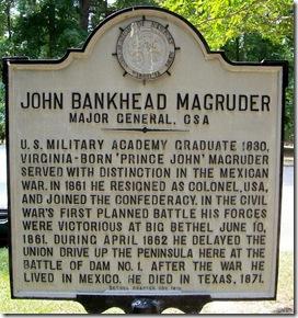 John Bankhead Magruder, CSA marker in Newport News, VA