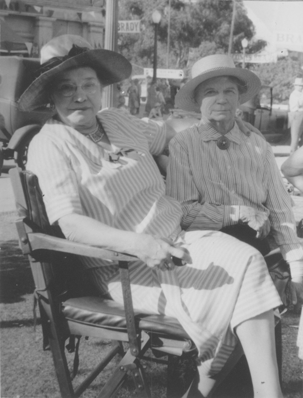 Dorothy Putnam and Minta Arbuckle on the set of Inherit the Wind. Circa 1960.