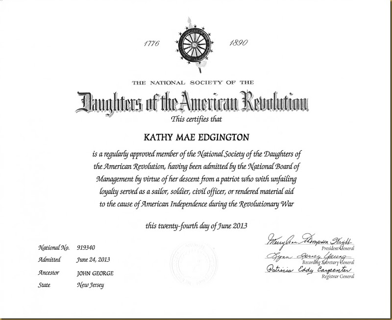Kathy Irwin DAR Membership Record