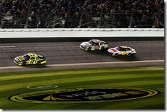 2012 Daytona 500 Matt Kenseth leads Dale Earnhardt Jr Greg Biffle