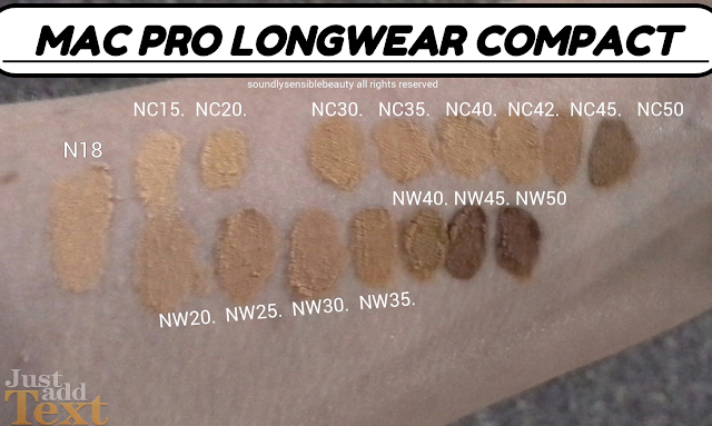 Mac Pro Longwear Compact; SPF 20 (Cream foundation); Review & Swatches of Shades N18, NC15, NC20, NC25, NC30, NC35, NC40, NC42, NC45, NC50, NW20, NW25, NW30, NW35, NW40, NW45, NW50