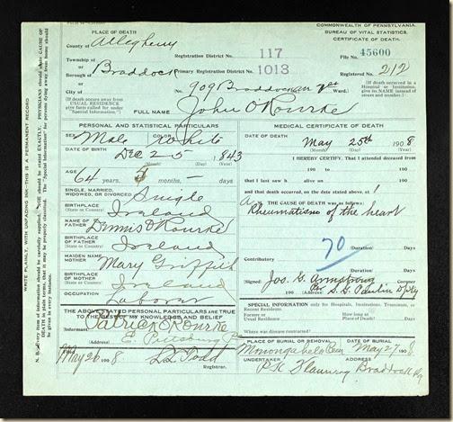 John O'Rourke DC 25 May 1908