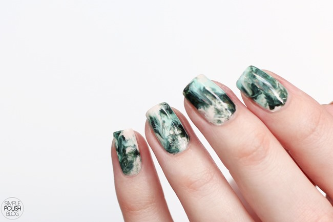 Dry-Marble-Nails-Saran-Wrap-Dark-Green-2