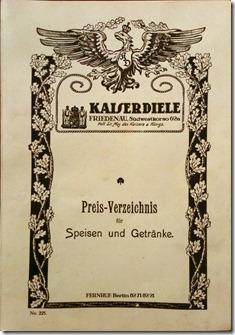 Speisekarte Kaiserdiele Berlin