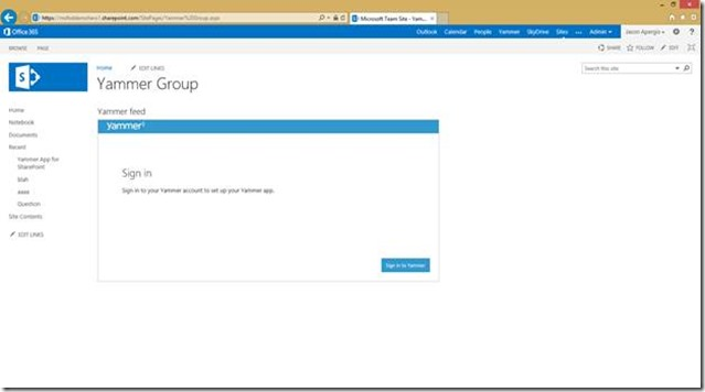 A static state new yammer integration with office 365 and sharepoint online - Yammer office 365 integration ...