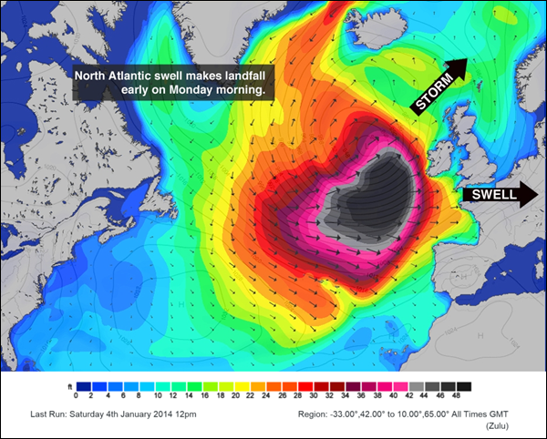 Projected Atlantic swell height for Monday, 6 January 2014. Extreme storm Christine is expected to bring a 'black swell' and coastal waves of up to 70 feet to Ireland. Graphic: Magic Seaweed