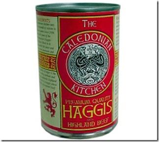 Enlatado - Haggis - aveia, cebola, coração, fígado, pulmão e estômago de ovelha - Escócia