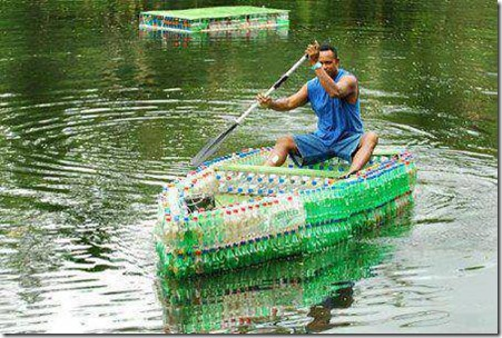 boat made from littered plastic bottles by tom davies living in fiji