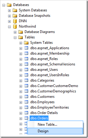 Design Orders table in Northwind database.