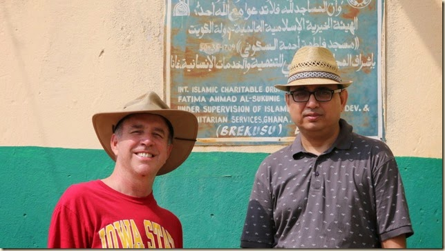 Multiculturalism: American and Pakastani friends in front of a Kuwaiti built Mosque in Ghana, West Africa.