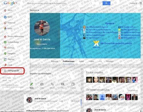 Evitar publicaciones de comunidades en Google Plus - opción configuración