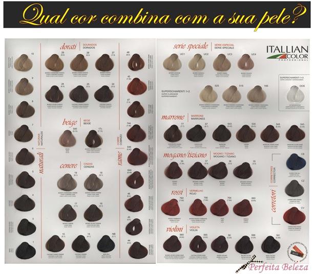 tabela de tintura da itallian color, cor de cabelo