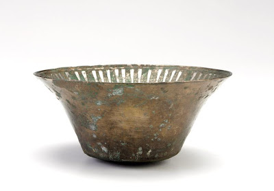 Bowl | Origin:  Iran | Period: 1200-1300  Saljuq period | Details:  Not Available | Type: Bronze with inlaid silver | Size: H: 10.7  W: 24.0   D: 24.0  cm | Museum Code: S1987.75 | Photograph and description taken from Freer and the Sackler (Smithsonian) Museums.