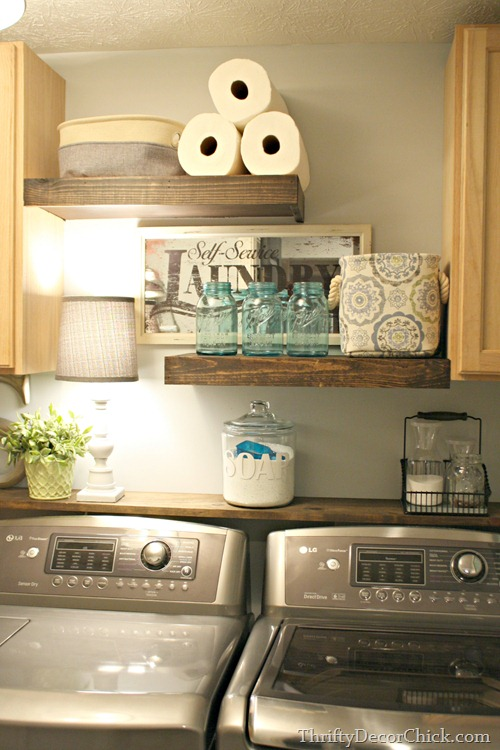 Diy wood shelving laundry storage from thrifty decor chick diy floating shelves in laundry solutioingenieria Gallery