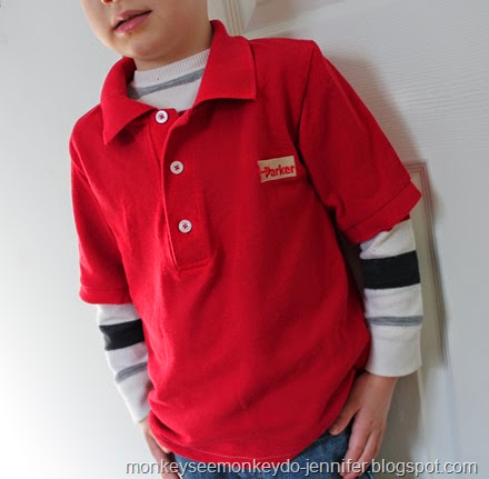 red polo shirt upcycle